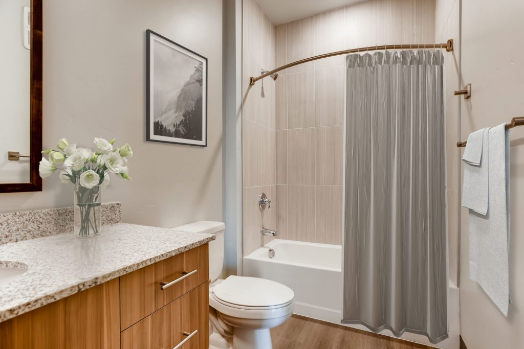 Pristine bathroom at Six Canyon Apartments